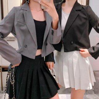 【大特価】3色展開 シングルボタン シングルブレスト ショート丈 テーラードジャケット ブレザー クロップドジャケット 韓国