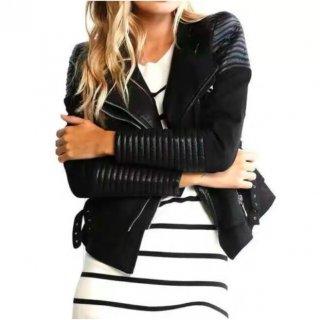 【大特価】ブラック パッドデザイン ドレープカラー ライダースジャケット フェイクスエード  合皮 異素材切替 インポート 通販