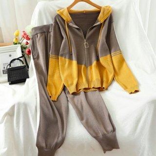【大特価】2色展開 カラーブロック コントラストカラー ニットジャケット パーカー ニットパンツ セットアップ ニットアップ 韓国