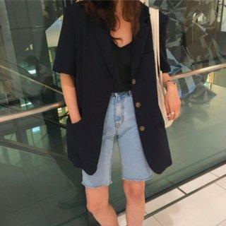 【大特価】ブラック 半袖 無地 シンプル シングルボタン シングルブレスト ロング丈 オーバーサイズ テーラードジャケット ブレザー 韓国