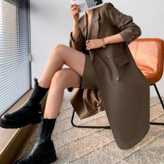 【大特価】ブラウン ロング丈 ジャケット テーラードジャケット ブレザー トレンチコート ダブルボタン ダブルブレスト インポート 通販