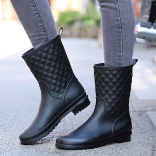 【大特価】3色展開 キルティングデザイン ショートブーツ 長靴 レインブーツ 雨の日でもOK ショート丈レインブーツ 韓国 インポート 通販