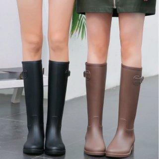 【大特価】4色展開 くすみカラー レインブーツ 長靴 雨の日OK サイドバックルベルト スクエアバックル 韓国 インポート 通販