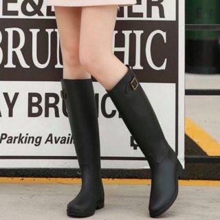 【大特価】ブラック フェイクレザー 合皮 レインブーツ ロングブーツ 長靴 ロング丈レインブーツ 韓国 インポート 通販