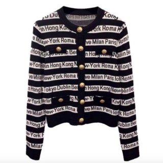【大特価】ブラック 総柄 ロゴデザイン フロントボタン ゴールドボタン ノーカラー ニットカーディガン 長袖 セーター トップス 韓国