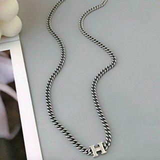 【大特価】シルバー Hデザイン Hロゴ チェーンネックレス ペンダントネックレス インポート 通販