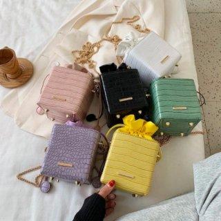 【大特価】6色展開 フェイクレザー 合皮 クロコ調 チェーンショルダーバッグ スクエアバッグ 巾着バッグ インポート 通販