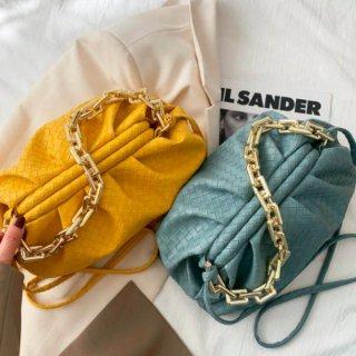 【大特価】8色展開 編み込みデザイン チェーンショルダーバッグ ギョウザバッグ ぎょうざバッグ 2way クッションバッグ 韓国 インポート 通販
