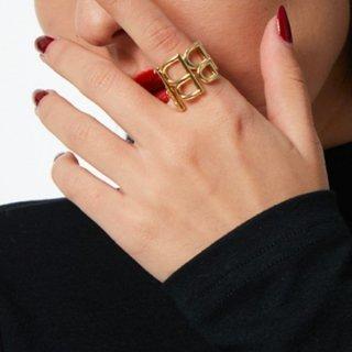 【大特価】ゴールド Bロゴ Bデザイン Bリング Bモチーフ ワイドリング 指輪 リング インポート 通販