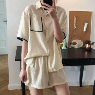 【大特価】2色展開 パイピングトリム 半袖 パジャマシャツ トップス ショートパンツ セットアップ ワンマイルウェア 韓国 インポート 通販