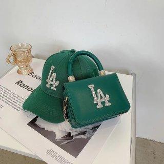 【大特価】9色展開 2点セット LA ロゴデザイン 2way ハンドバッグ ショルダーバッグ ベースボールキャップ キャップ 帽子