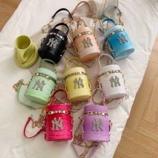 【大特価】8色展開 フェイクレザー 合皮 クロコ調 NY ロゴデザイン ハンドバッグ 2way ショルダーバッグ 筒型バッグ 筒型2wayバッグ