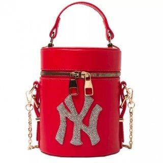 【大特価】4色展開 フェイクレザー 合皮 NY ロゴデザイン ハンドバッグ 2way ショルダーバッグ 筒型バッグ 筒型2wayバッグ