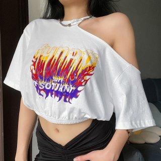 【大特価】ホワイト フロントプリント ファイヤーパターン fun off リメイク風デザイン ワンショルダー Tシャツ 半袖 クロップドトップス カットソー