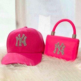 【大特価】8色展開 2点セット ベースボールキャップ NY ハンドバッグ ショルダーバッグ 帽子 バッグ セット インポート 通販