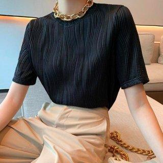 【大特価】ブラック 無地 シンプル ウエーブデザイン クルーネック 半袖 Tシャツ トップス カットソー 韓国 インポート 通販