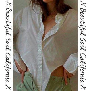 【大特価】2色展開 変形デザイン サイドカットアウト 長袖 オーバーサイズ シャツ ブラウス トップス カットソー インポート 通販