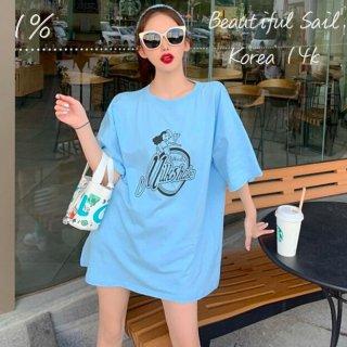 【大特価】4色展開 ガールプリント milk shake フロントロゴ オーバーサイズ Tシャツ 半袖 トップス カットソー 韓国