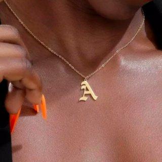 【大特価】3色展開 ゴールド シルバー ローズゴールド アルファベット イニシャル ペンダントネックレス ネックレス インポート 通販