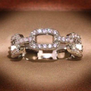 【大特価】シルバー ラインストーン ジルコニア チェーンデザイン キラキラ チェーンリング 指輪 ラインストーンリング インポート 通販