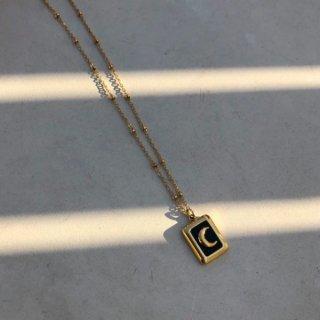 【大特価】ゴールドxブラック クレセントムーン スクエアペンダントネックレス ネックレス ぺンダントネックレス ボールチェーン
