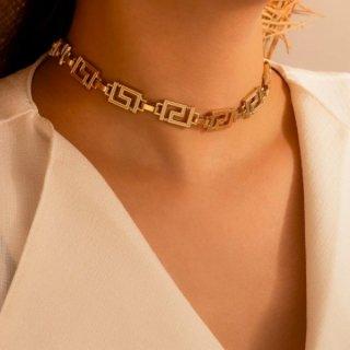 【大特価】ゴールド ジオメトリック 幾何学デザイン チョーカーネックレス ネックレス チェーンネックレス インポート 通販