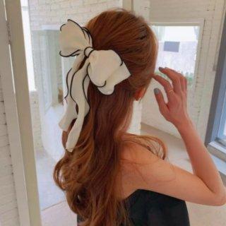 【大特価】2デザイン ホワイトxブラック パイピングトリム リボンヘアゴム リボンヘアクリップ ヘアピン ヘアアクセサリー 韓国