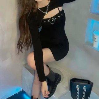 【大特価】ブラック 2セット ハート ベルト バックルストラップ マイクロミニ丈 ボレロ クロップドトップス ミニワンピース セットアップ 韓国