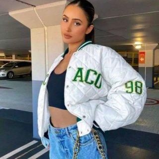 【大特価】ホワイトxグリーン CHICAGO キルティングジャケット ボンバージャケット ブルゾン ストライプ ライントリム  インポート 通販