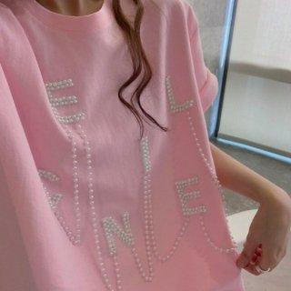 【大特価】ピンク フェイクパールビーズ フロントロゴ パールチェーン クルーネック Tシャツ 半袖 トップス カットソー 韓国