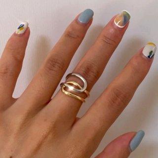 【大特価】シルバーxゴールド ワイヤーリング ラインストーン ダブルカラーリング 指輪 インポート 通販