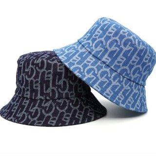 【大特価】2色展開 英字ロゴデザイン アルファベット デニムハット バケットハット バケハ 帽子 インポート 通販