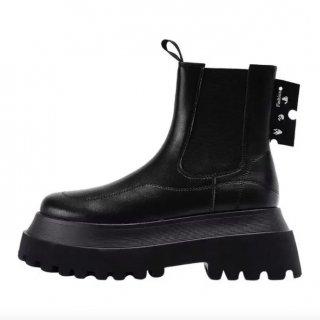 【大特価】ブラック フェイクレザー 合皮 サイドゴアブーツ チェスターブーツ アンクルブーツ 厚底 プラットフォームブーツ ショートブーツ