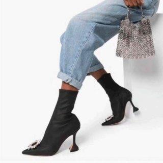 【大特価】ブラック ビジュー フェイクスエード ラインストーン バックル アンクルブーツ ポインテッドトゥ ショートブーツ ブーティー