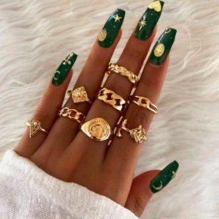 【大特価】ゴールド 8セット ローズ 薔薇 チェーンリング リングセット 指輪 インポート 通販