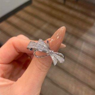 【大特価】2色展開 シルバー ゴールド ラインストーン リボンリング リング 指輪 韓国 インポート 通販
