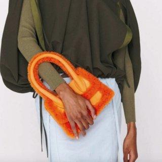 【大特価】3色展開 フェイクファートリム ボア 異素材切替 ハンドバッグ 2way ショルダーバッグ スクエアバッグ インポート 通販