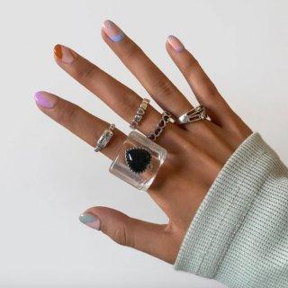 【大特価】シルバー 5本セット アクリルリング 大ぶりリング 指輪 プラスチックリング クレイリング ハートリング リングセット インポート 通販
