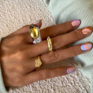 【大特価】クリア ゴールド アクリルリング 大ぶりリング 指輪 プラスチックリング クレイリング ハートストーン リングセット