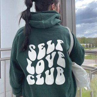 【大特価】モスグリーン スマイル スマイリー Self Love Club バックロゴプリント スウェット トレーナー プルオーバー パーカー フーディー