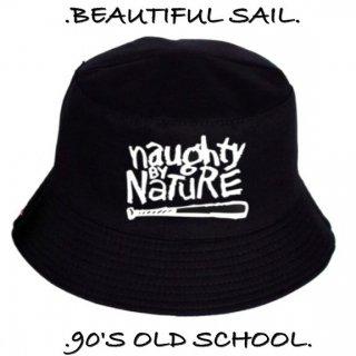 【大特価】ブラックxホワイト naughty by nature フロントロゴ バケットハット バケハ 帽子 インポート 通販
