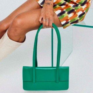 【大特価】グリーン フェイクレザー 合皮 ロングストラップ ハンドバッグ ショルダーバッグ スクエアバッグ インポート 通販