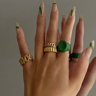 【大特価】ゴールド 7mm幅 ゴールドリング クロワッサンリング メタルリング  シンプルリング 指輪 インポート 通販