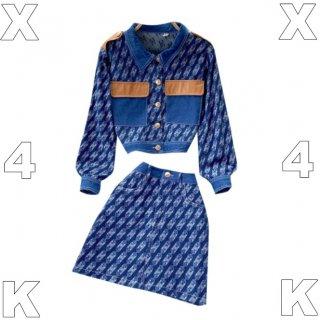 【大特価】ブルー チェーン柄 総柄 異素材切替 デニムシャツ デニムミニスカート セットアップ フェイクレザー 合皮 ダブルポケット 韓国