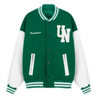 【大特価】グリーンxホワイト UNロゴ イーグル バックプリント スタジャン ベースボールジャケット ブルゾン ボンバージャケット 通販