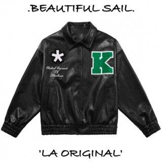 【大特価】ブラック ワッペン Kロゴ フェイクレザー 合皮 襟付き スタジャン ベースボールジャケット ブルゾン ボンバージャケット