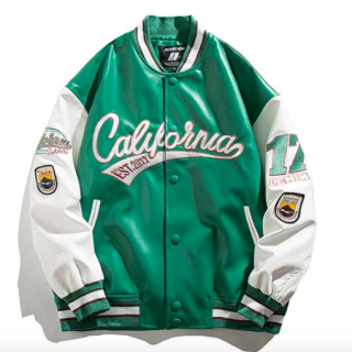 【大特価】4色展開 California フロントロゴ スタジャン ベースボールジャケット ブルゾン ボンバージャケット ワッペン ナンバリング