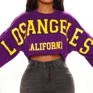 【大特価】パープル LOS ANGELS フロントロゴ california カットオフ 切りっぱなし 長袖 クロップドトップス カットソー