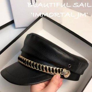 【大特価】ブラック フェイクレザー 合皮 チャンキーチェーン レザーキャスケット キャスケット マリンキャップ 帽子 韓国 インポート 通販