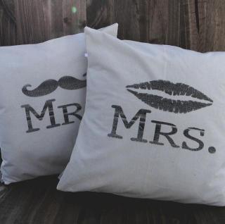 2セット Mr&Mrs ビンテージ風 ウェディング クッションカバー インテリア